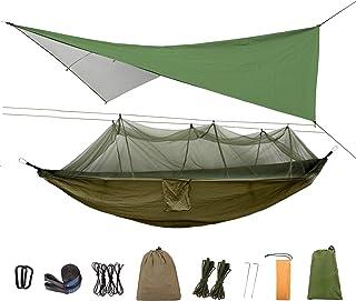 Herefun Hamac avec Moustiquaire, Hamac D'extérieur de Camping, 200 kg Capacité de Charge, Nylon à Parachute à séchage Rapi...