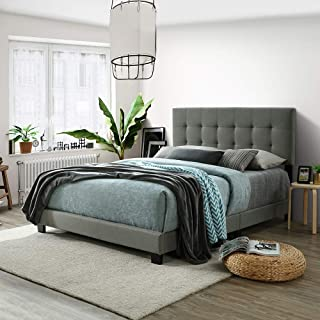 Harper&Bright Designs Upholstered Platform Bed with Wooden Slat Support and Tufted Headboard and Footboard (Queen(Rectangle Headboard))