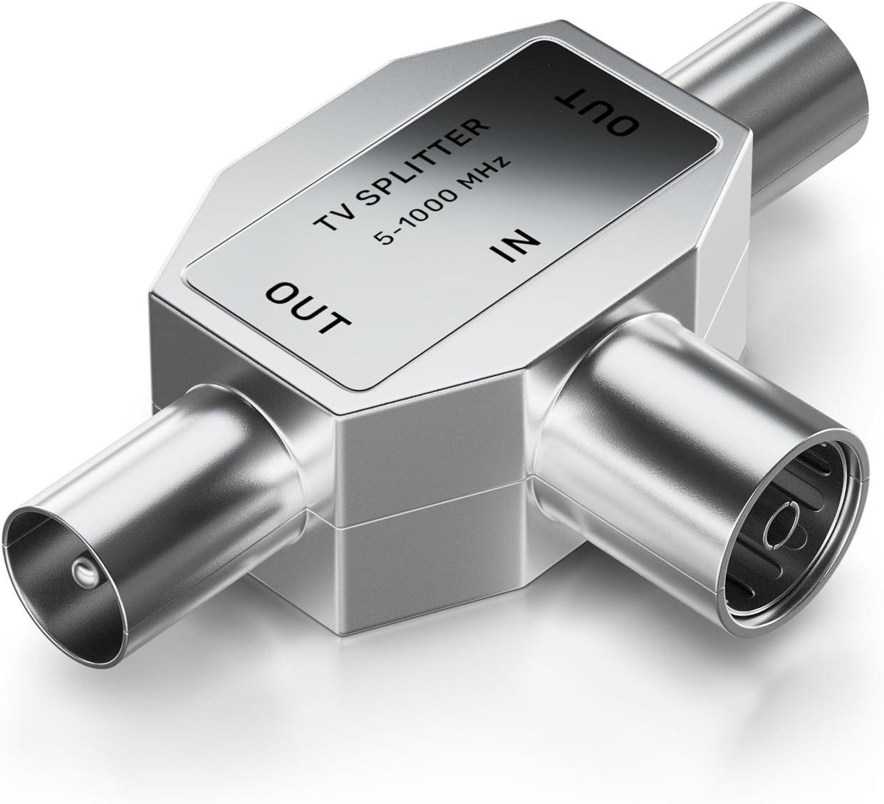 deleyCON de Distribución de Antenas T-Acoplamiento para el Adaptador de TV Acoplamiento Coaxial Enchufe Coaxial 2X - Plata