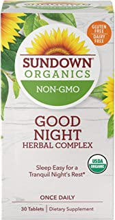 Sundown Organics Good Night Herbal Complex, Sleep Aid with Valerian Root for Occasional Sleeplessness,* Gluten Free, 100% ...
