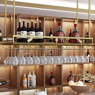 GDSKL Casier À Vin Organiser La Cuisine Rouge, Doré, Porte-Verre À Vin Suspendu, Décoration de Plafond, Étagère Réglable E...