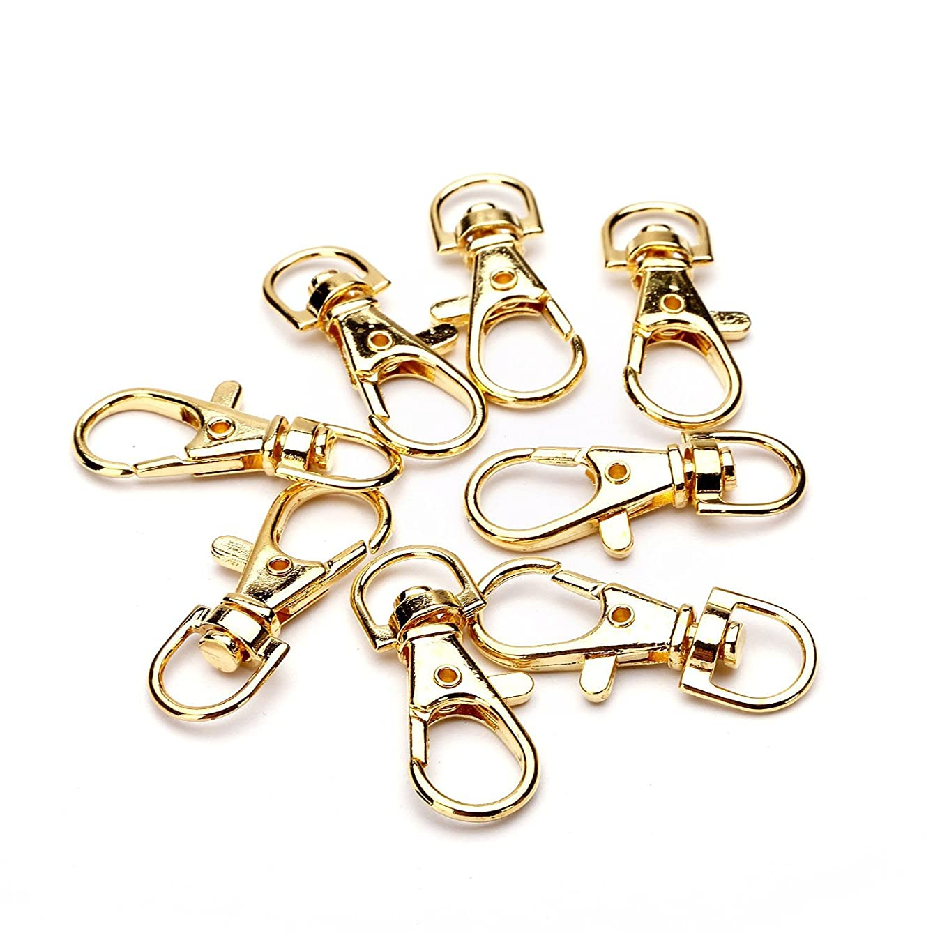 Coolrunner Chrome Color Swivel Eye Lobster Snap Clasp Hook for Key Ring 38x16mm 30pcs (Gold)