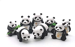 Easy 99 Panda Figurines Panda Model Plastic Animals Miniature Figurines Toys Cake Topper DIY Fairy Garden Miniature Moss Landscape for Kids' Collection Home Decoration, Set of 8