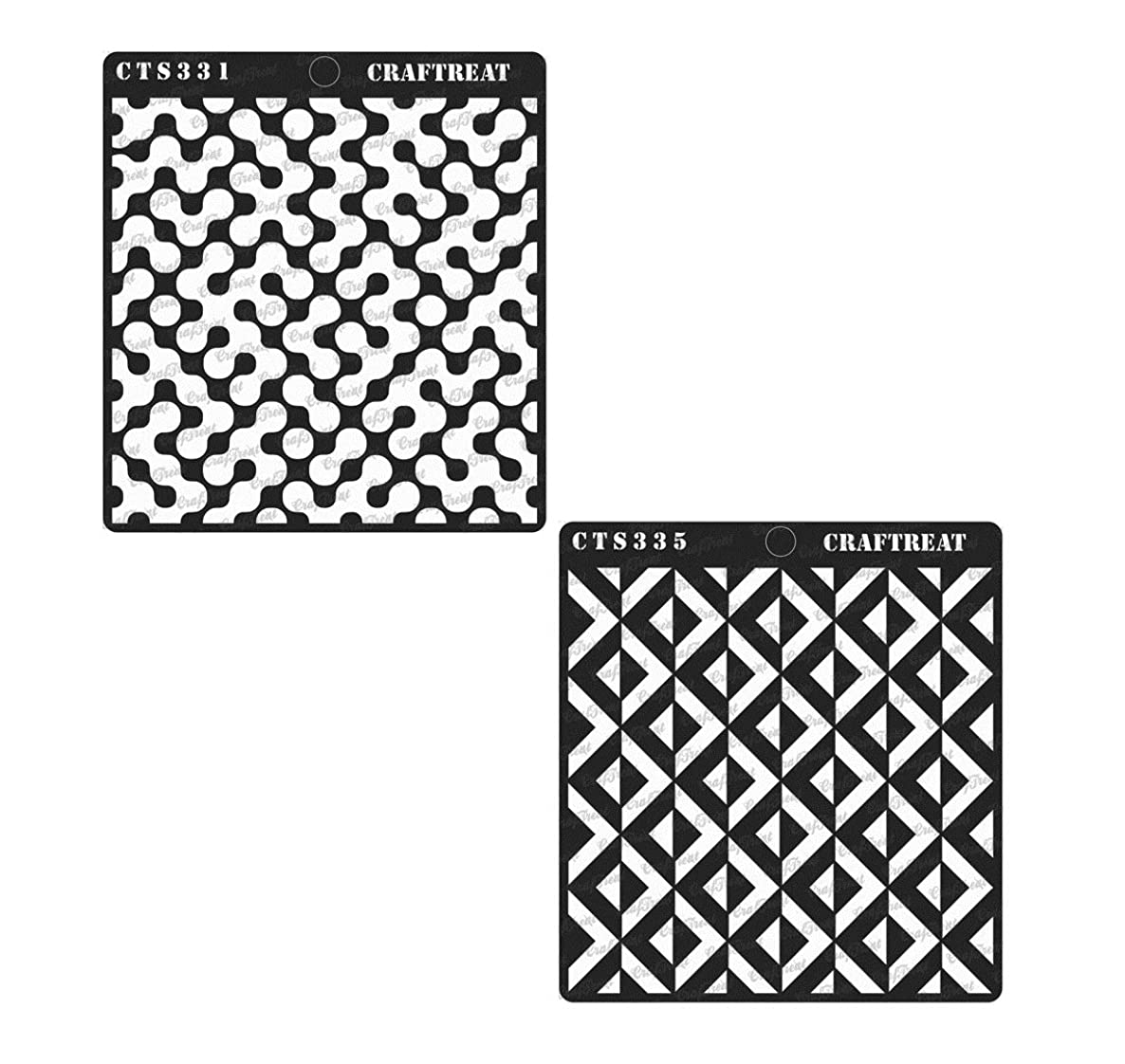 CrafTreat Stencil - Abstract Connected Arcs & 3D Square Pattern (2 pcs) | Reusable Painting Template for Home Decor, Crafting, DIY Albums and Printing on Paper, Floor, Wall, Tile, Fabric, Wood 6