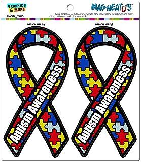 587ff622 Graphics and More Autism Awareness Support Ribbon Automotive Car  Refrigerator Locker Vinyl Magnet Set