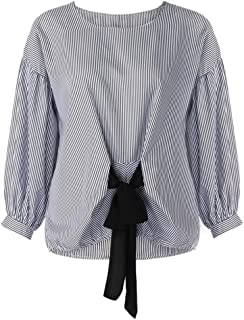 TOPUNDER Women Plus Size Shirt Bandage Striped Lantern Sleeve Blouse Pullover Crop Tops by