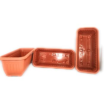 First Smart Plastic Rectangle Pot (Brown, Pack of 3)(35 x 18 x 14 cm)