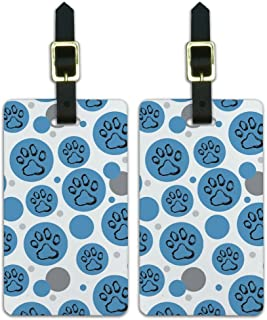 Graphics & More Luggage Suitcase Carry-on Id Tags-Paw Print Artsy Cat Dog-Blue, White
