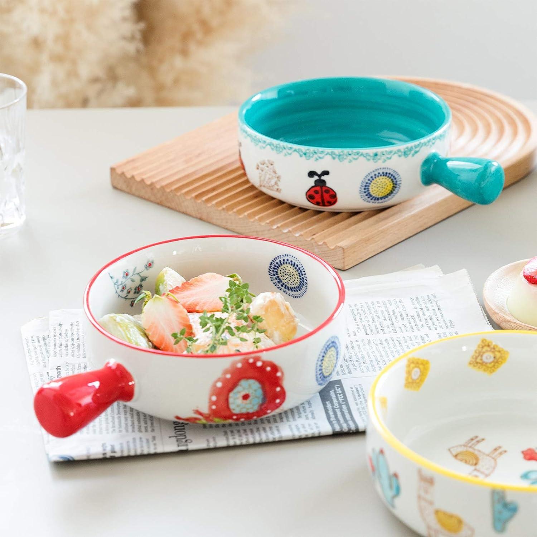 Pink Strawberry SURVEEL Salad Bowl with Handle Stackable Durable Porcelain Cereal Pasta Soup Bowl 20 Ounces