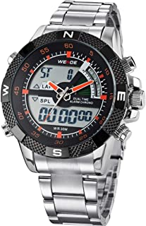 Lixada WEIDE WH1104 Dual Display Two Movement Quartz Digital Men Watch 3ATM Waterproof LCD Backlight Date Week Month Alarm SPL Split Time Stopwatch Wristwatch with Stainless Steel Strap Band