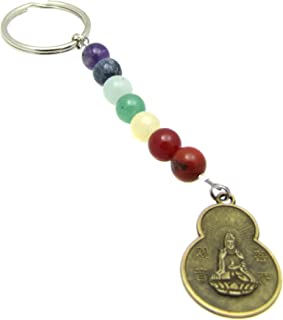 7 Chakras Energy Gemstone Beaded, Quan Yin Goddess Buddha Blessings Coin Keychain, Key Chain, Bag Charm