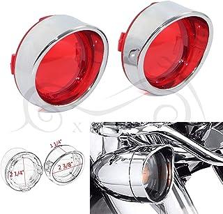 Chrome RED Visors Turn Signal Light Lens Cover for Harley Softail Dyna Road King Road Glide Sportster