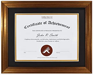 Golden State Art, 11x14 Frame for 8.5x11 Diploma/Certificate, Dark Gold Color. Includes Black Over Gold Double Mat and Real Glass