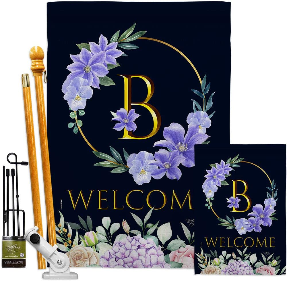 Floral Welcome B Rare Initial Garden Special sale item Monogram Flags Spring Kit House