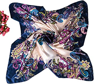 Polytree Women Floral Scarf Satin Neckerchief Large Square Shawl 35""