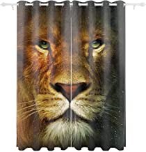 IBNEED Blackout Curtains with Narnia Lion 2 Panels for Room,Thermal Insulated Grommet Bedroom Drapes (84 x 55 in)