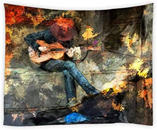 AMNYSF Music Tapestry Wall Hanging Musical Hipster Man Playing Electric Guitar Colorful Vintage Canvas Painting Decor Tapestries for Bedroom Living Room Dorm 70x70 Inch