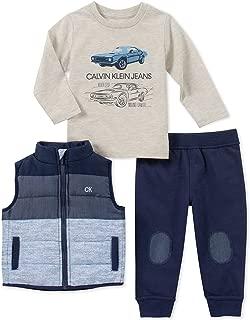 Calvin Klein Baby Boys 3-Pc. Colorblocked Vest, Car-Print T-Shirt & Jogger Pants Set 24 Months Blue