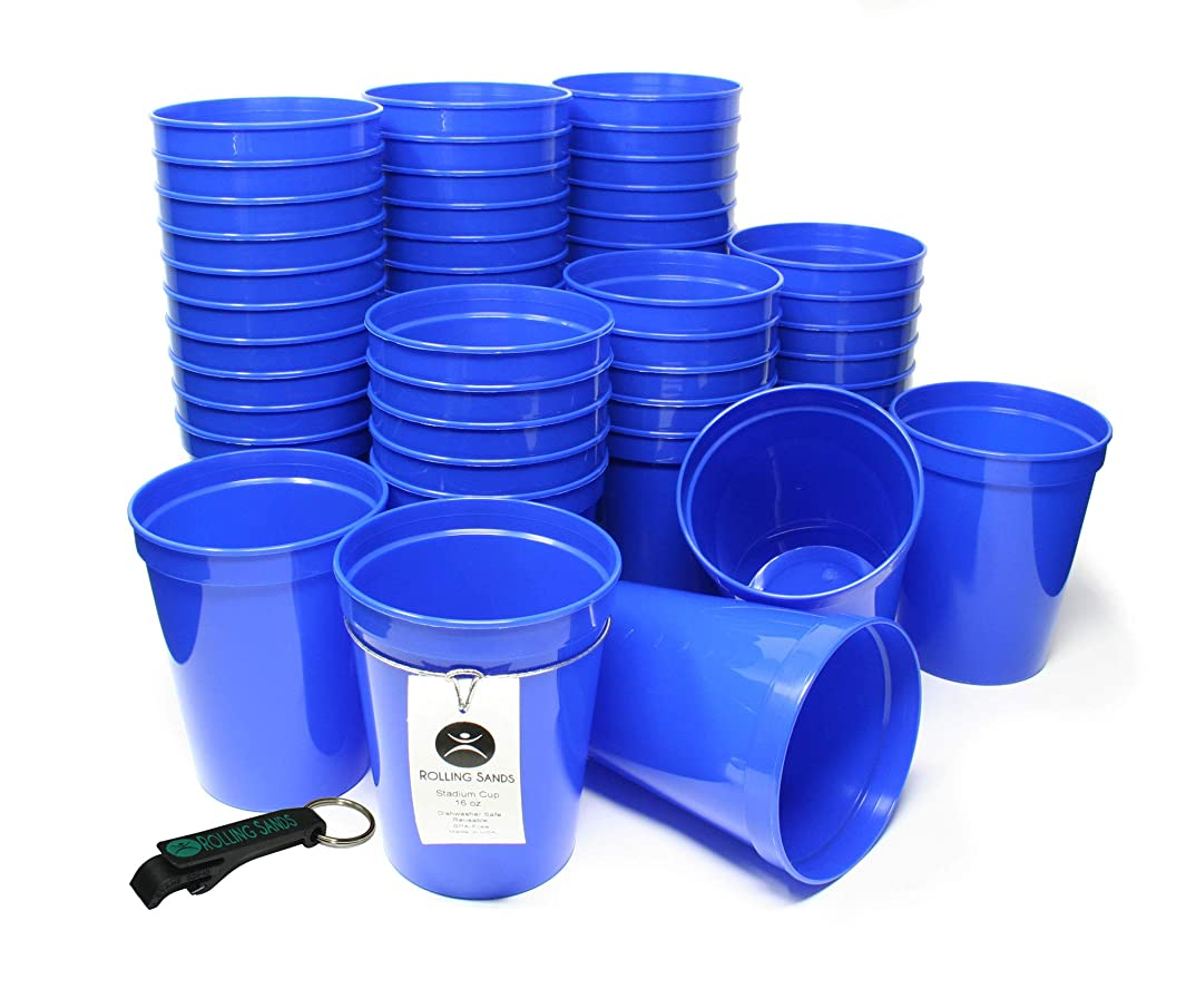 Rolling Sands 16oz Reusable Plastic Stadium Cups Blue (50 Pack, Made in USA, BPA-Free) Dishwasher Safe Plastic Tumblers and Bottle Opener