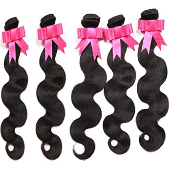 New Synthetic Hair Body Wave 5 Bundles 300Gm Same Texture As Human Hair Black Hair Synthetic Hair Bundles Full Head Soft Synthetic Hair Weft