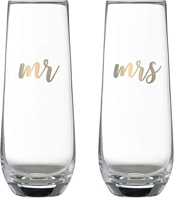 Lillian Rose G116S MM Mr Mrs Champagne Glass Set 2 X5 75 Clear