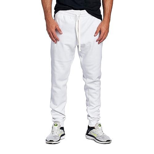 f82d9d387 ProGo Men's Casual Jogger Sweatpants Basic Fleece Marled Jogger Pant  Elastic Waist