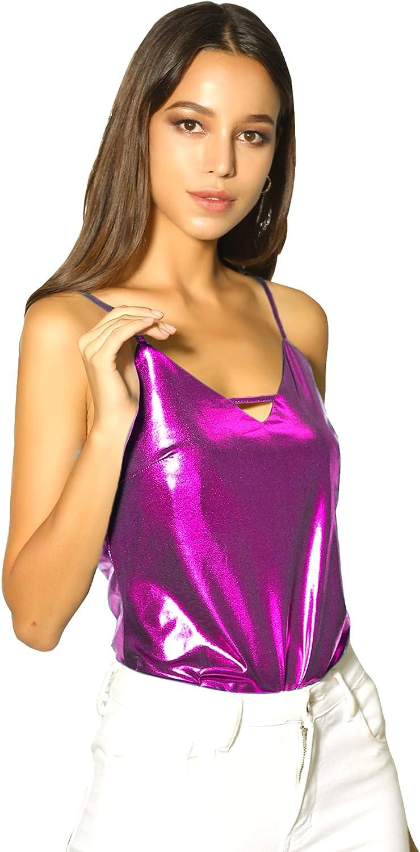 Allegra K Women's Metallic Shiny Party Tank Top Deep V Camisole Tops