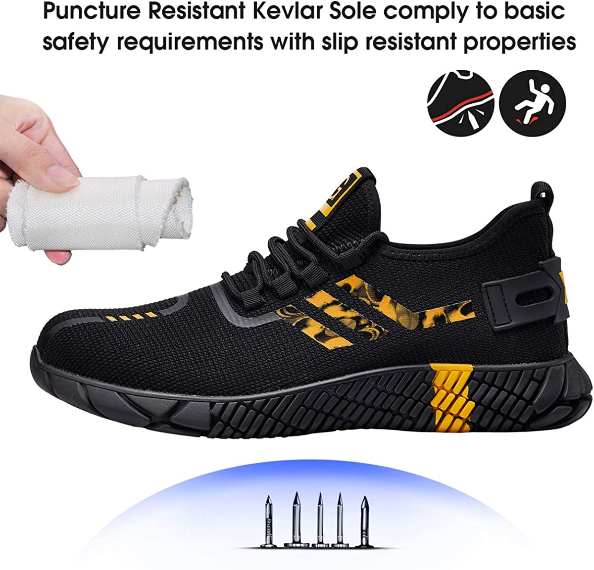Steel Toe Shoes for Men Women Lightweight Comfortable Safety Work Shoes Slip Resistant Industrial Construction Shoes