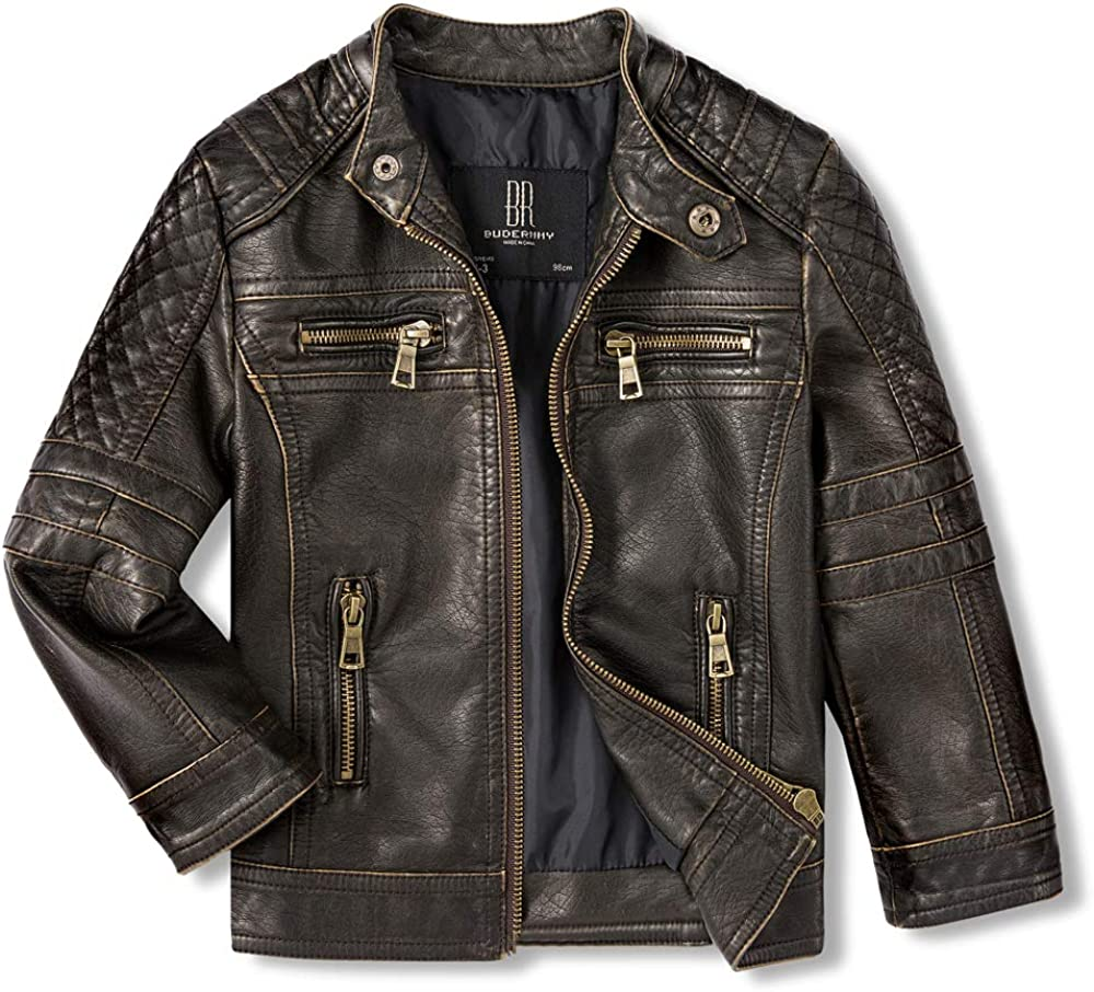 Budermmy Jackets for Boys Faux Girls Recommended Toddler Motorcycle Don't miss the campaign Leather