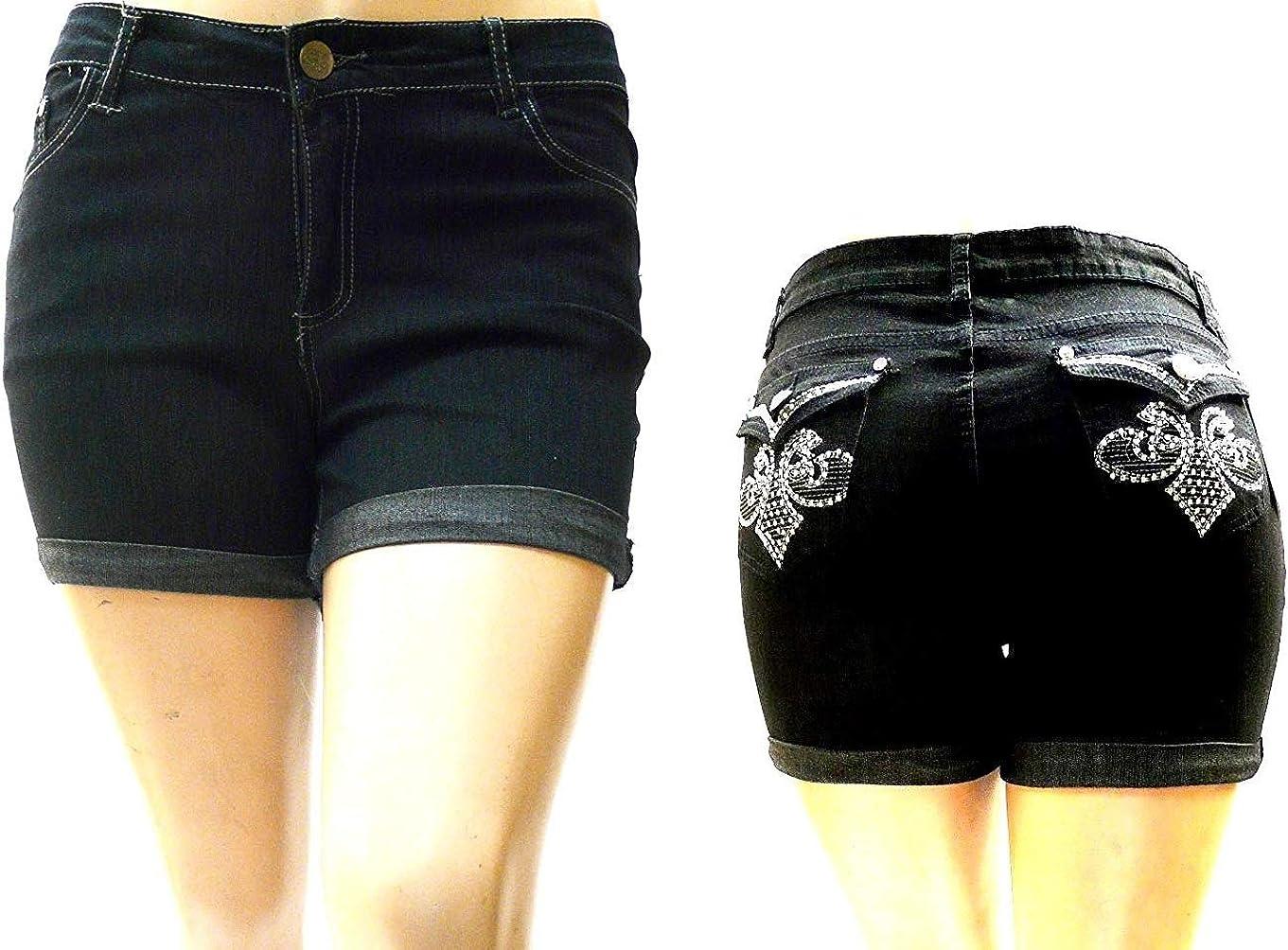 1826 Women's Plus Size Stretchy HI Waist Denim Jeans Short Dark Blue & Black