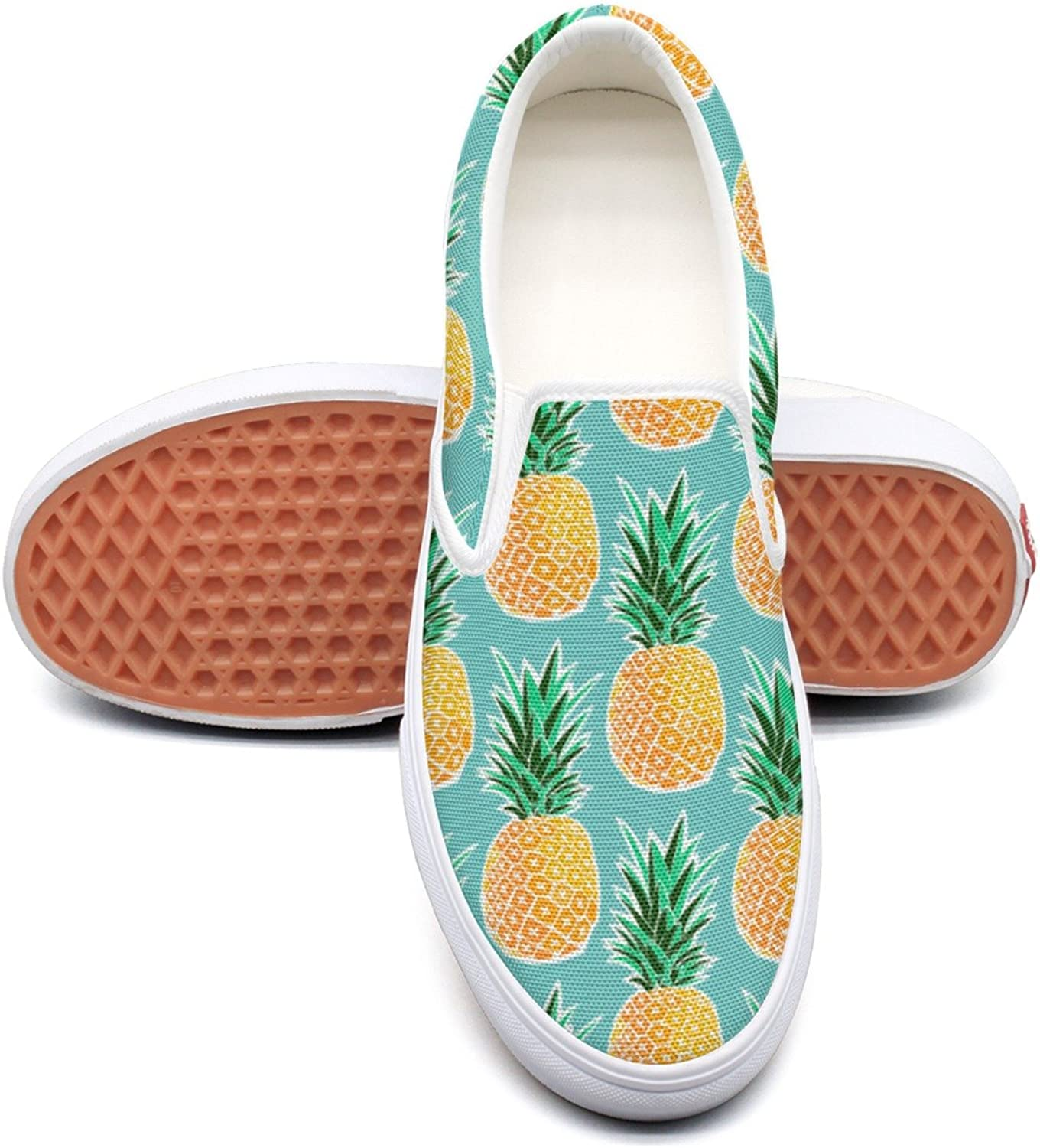 Hjkggd fgfds Casual Tropical Pineapple Green Geometric Womens Ladies Canvas shoes
