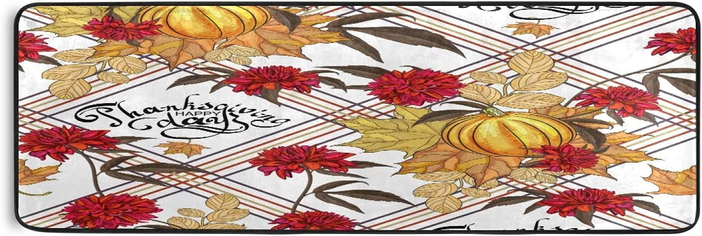 Autumn Time sale Pumpkins Thanksgiving Runner Rug Moro Leaves Flowers Fall Alternative dealer