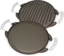Victoria Round Cast Iron Gril. Double Burner Griddle, with Wire Handles Seasoned with 100% Kosher Certified Non-GMO Flaxse...