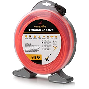 A ANLEOLIFE 1-Pound Commercial Square .080-Inch-by-557-ft String Trimmer Line Donut,with Bonus Line Cutter, Orange