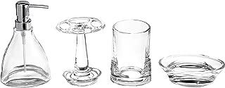 AmazonBasics Vapor 4-Piece Glass Bathroom Accessories Set
