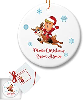 President Trump Reindeer Ceramic Christmas Tree Ornament - Make Christmas Great Again - Gifts for Dad Mom Men Women - Holidays Presents Keepsake Hallmark Collectible Conservative Gift Ideas 2018 -