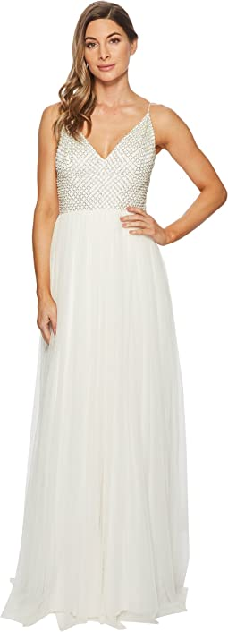 Adrianna Papell - Bead Bodice Bridal Gown with Mesh Ball Skirt