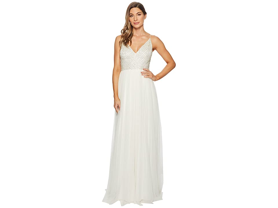 Adrianna Papell Bead Bodice Bridal Gown with Mesh Ball Skirt (Ivory Multi) Women