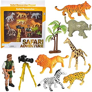 ArtCreativity Safari Researcher Pretend Play Set for Kids, Toy Set with Explorer Figurine, Camera, Tripod, Play Mat, Tree,...