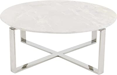 "Deco 79 Round Marble Coffee Table Stainless Steel Modern Base, 31"", Silver/White"