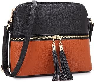 Lightweight Multi Zipper Pockets Women Cute Medium Crossbody Bags Messenger Purse Travel Shoulder Bags with Tassel