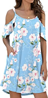 Jouica Women's Summer Casual Beach Sling Dress Strapless Strap Sundress Cold Shoulder Ruffle Sleeves Dresses with Pocket