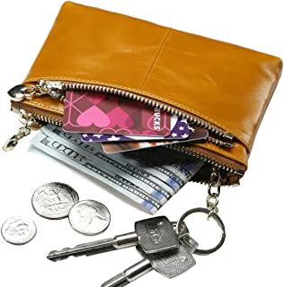 Women's Triple Zipper Leather Coin Purse Change wallet Coin Pouch RFID Card Holder with Key Ring