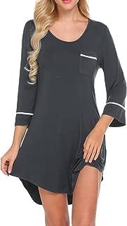 Women's Sleepshirt 3/4 Sleeves Nightgown Sexy Nightshirts Boyfriend Sleepwear S-XXL