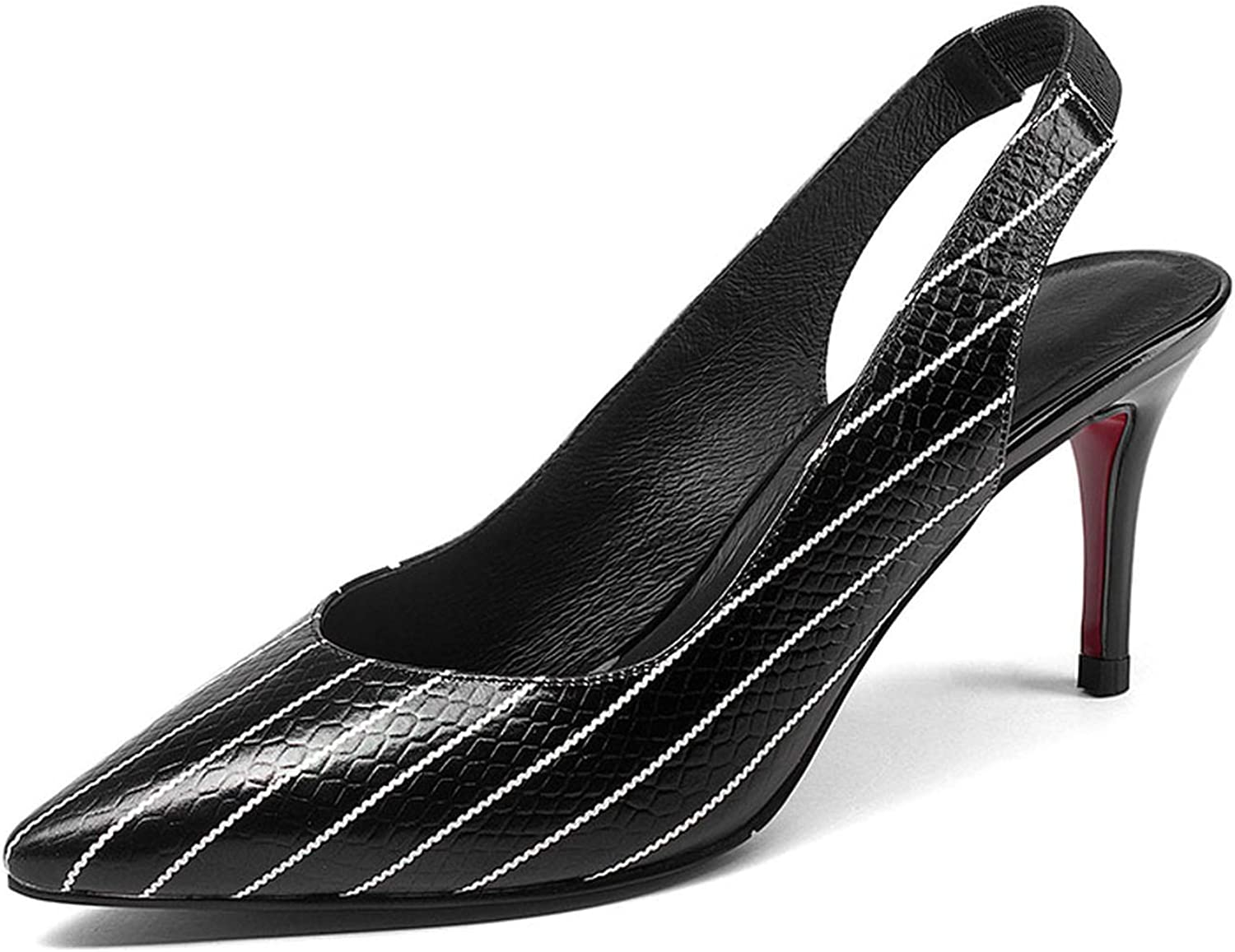 colorful Dream- Genuine Leather Stripe Women Pumps Pointed Toe Footwear Shallow Female shoes High Heels Office