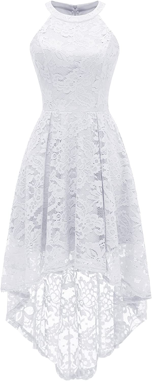 Dressystar Women's Halter Floral Lace Cocktail Party Dress Hi-Lo Bridesmaid Dress