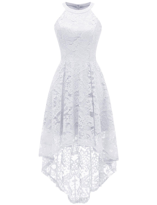 White Dress - Women's Vintage Full Lace Bell Sleeve Big Swing A-Line Dress