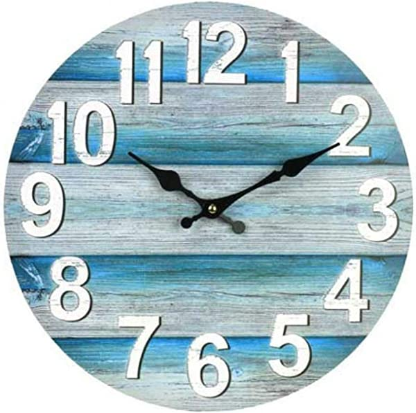 13 Vintage Beach Wall Clock Boards Ocean Blue Wooden Digital Clocks Silent Marine Home Living Room Decoration