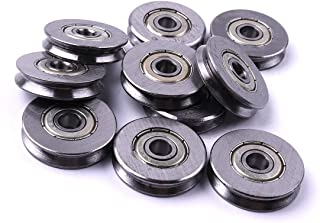 CHEERBRIGHT 20 Pieces Deep V Groove Guide Pulley Rail Ball Bearings Wheel 3x12x4mm