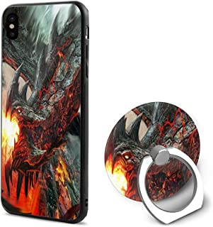 iPhone X/7/8 Case Fire Dragon Wallpaper Fantasy Smart Mobile Phone Shell Ring Bracket Cool